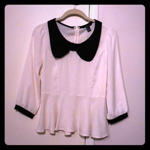 Black and white peplum blouse